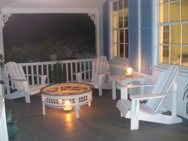 Beach deck at night