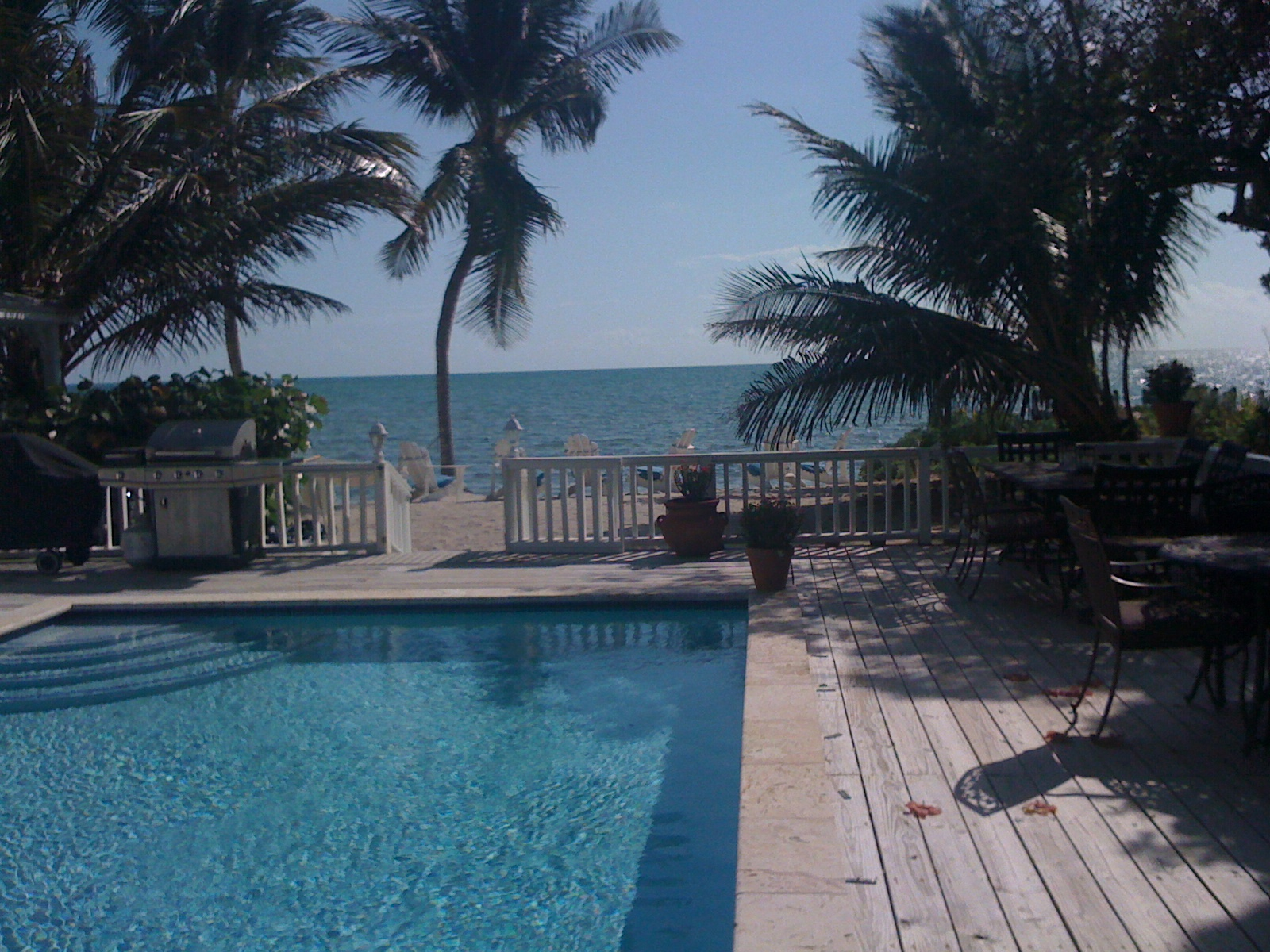 Private beach and swimming pool at vacation rental Islamorada Florida Keys